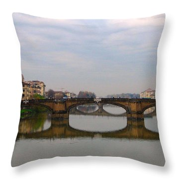 Florence Italy Bridge Throw Pillow by Catie Canetti
