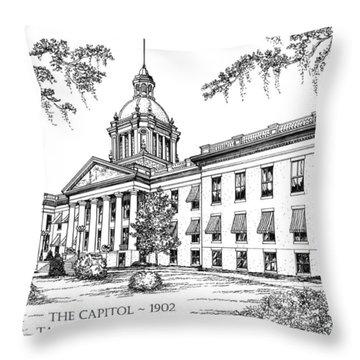 Florida Capitol 1902 Ink Throw Pillow