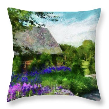 Flower - Town Square  Throw Pillow by Mike Savad