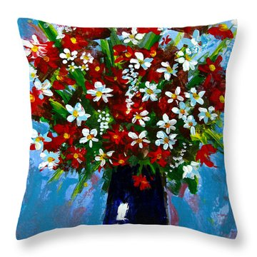 Flower Arrangement Bouquet Throw Pillow by Patricia Awapara