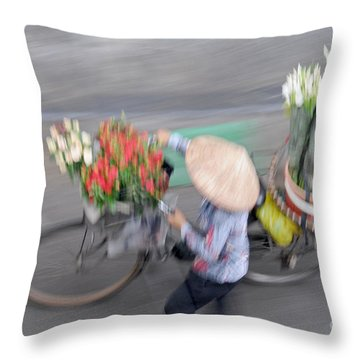 Flower Seller Throw Pillow