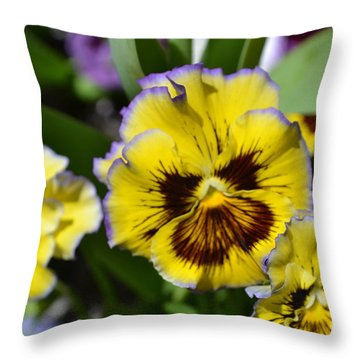 Flower With Pruple Trim Throw Pillow by Artie Wallace