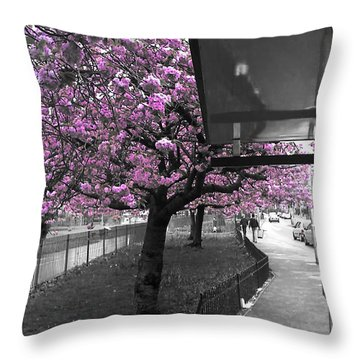 Flowered Pink Tree Throw Pillow