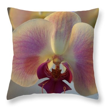 Throw Pillow featuring the photograph Flowering Orchid Plant by John  Mitchell
