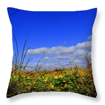 Flowers At The Beach Throw Pillow by Linda Mesibov