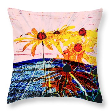 Flowers From Another World Throw Pillow by Lenore Senior and David Bearden