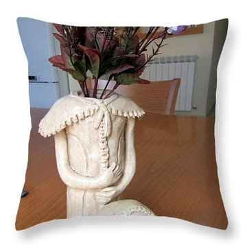 Flowers In My Head  Ceramic Vase Sculpture Of A Lady With A Removable Head Shoulder Pads Hands Face Throw Pillow by Rachel Hershkovitz