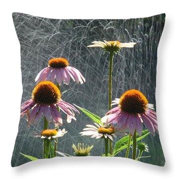 Flowers In The Rain Throw Pillow by Randy J Heath