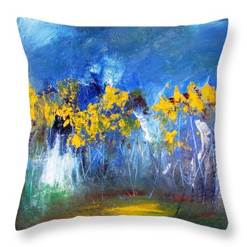 Flowers Of Maze In Blue Throw Pillow