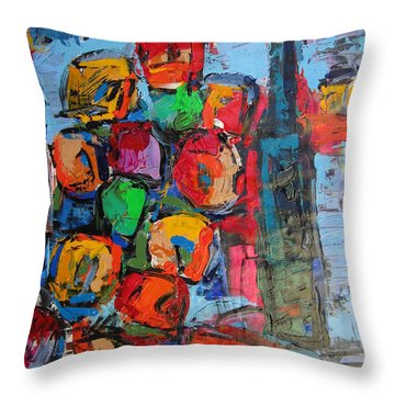 Flowers On Blue Throw Pillow