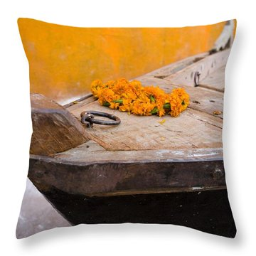 Flowers On Top Of Wooden Canoe Throw Pillow by David DuChemin