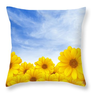 Flowers Over Sky Throw Pillow by Carlos Caetano