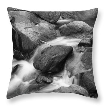 Flowing Water Down The Colorado St Vrain River Bw Throw Pillow by James BO  Insogna