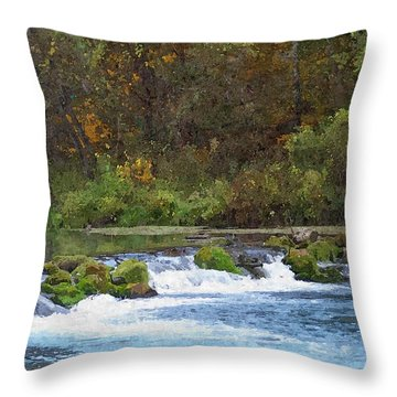 Flowing Water Throw Pillow by Julie Grace