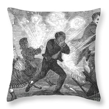 Fluid Lamp Explosion, 1868 Throw Pillow by Granger