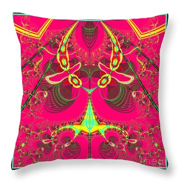 Fluorescent Alien Lady Bug Fractal 70 Throw Pillow by Rose Santuci-Sofranko