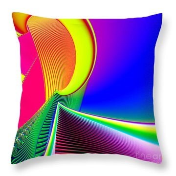 Fluorescent Boat And Giant Wave Fractal 95 Throw Pillow by Rose Santuci-Sofranko