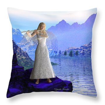 Flute Angel 2 Throw Pillow
