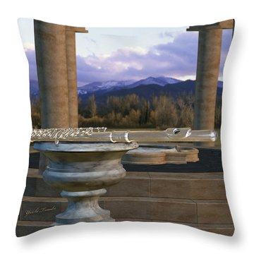 Flute On Marble Vase 1 Throw Pillow