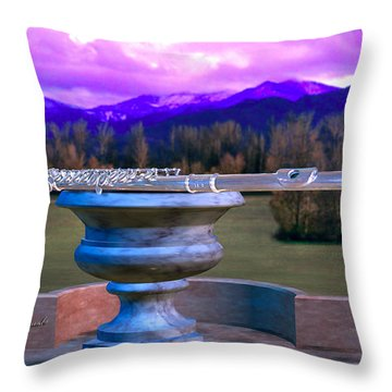 Flute On Marble Vase 2 Throw Pillow