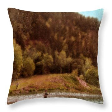 Fly Fishing Throw Pillow by Jill Battaglia
