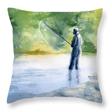 Flyfishing Throw Pillow by Eleonora Perlic