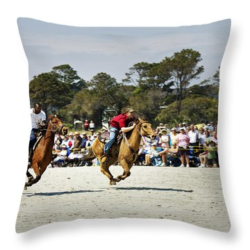 Flying At The Marsh Tacky Races Throw Pillow by Phill Doherty
