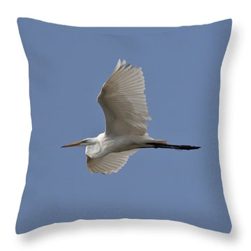 Throw Pillow featuring the photograph Flying Egret by Jeannette Hunt