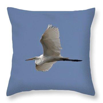 Flying Egret Throw Pillow by Jeannette Hunt