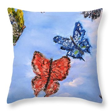 Throw Pillow featuring the painting Flying by Evelina Popilian