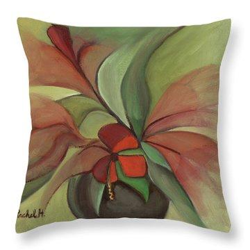 Flying Flowers Throw Pillow by Rachel Hershkovitz