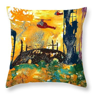 Flying Helicopters Over Turbulent Waters Throw Pillow