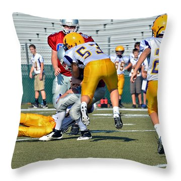 Flying Tackle Throw Pillow by Susan Leggett