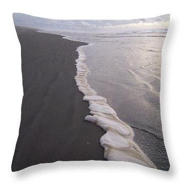 Foamy Demarcation Line Throw Pillow by Peter Mooyman