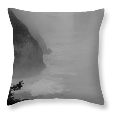 Throw Pillow featuring the photograph Fog And Cliffs Of The Oregon Coast by Mick Anderson
