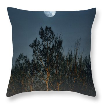 Foggy Forest With Full Moon Throw Pillow by Peg Runyan