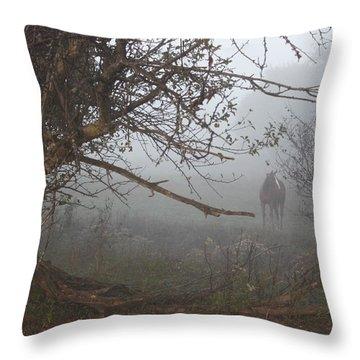 Foggy Horse Throw Pillow