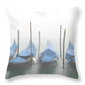 Foggy Morning Grand Canal Throw Pillow