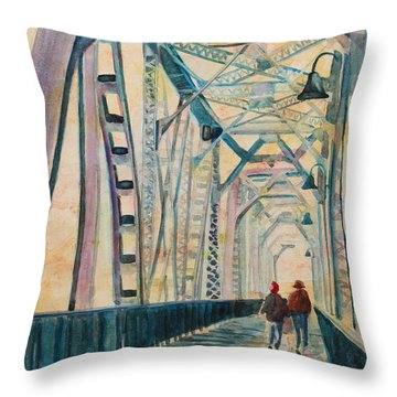 Foggy Morning On The Railway Bridge IIi Throw Pillow
