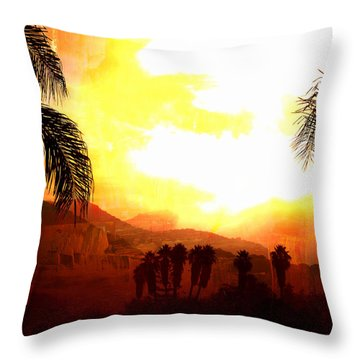 Foggy Palms Throw Pillow