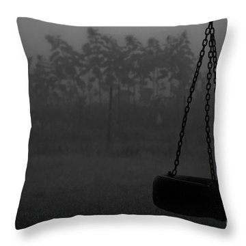 Throw Pillow featuring the photograph Foggy Playground by Cheryl Baxter