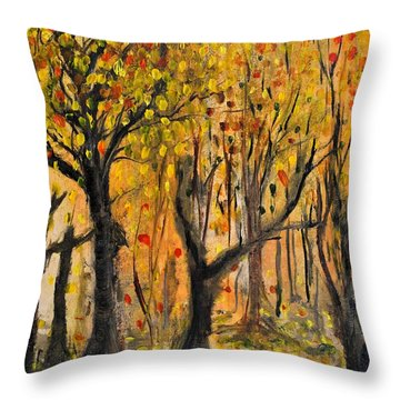 Throw Pillow featuring the painting Foliage by Evelina Popilian
