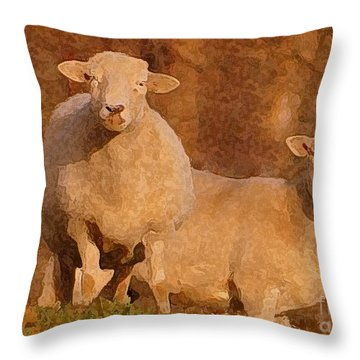 Throw Pillow featuring the mixed media Follow by Lydia Holly