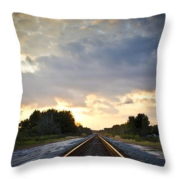 Follow The Tracks Throw Pillow by Carolyn Marshall