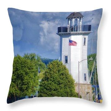 Fond Du Lac Lighthouse Throw Pillow by Joan Carroll