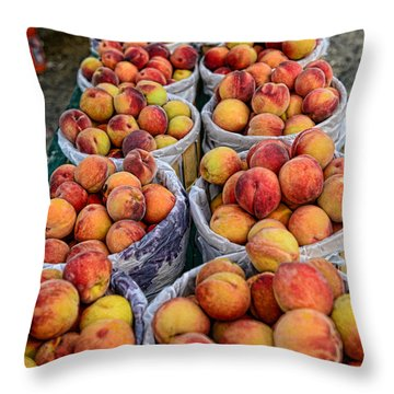 Food - Harvested Peaches Throw Pillow by Paul Ward