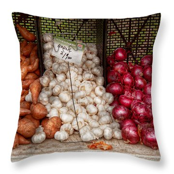 Food - Vegetable - Sweet Potatoes-garlic- And Onions - Yum  Throw Pillow by Mike Savad