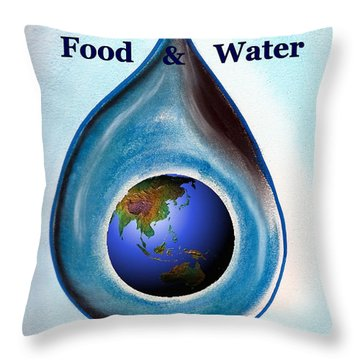 Food And Water Throw Pillow
