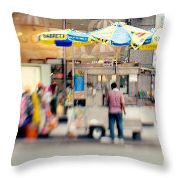 Food Vendor In New York City Throw Pillow by Kim Fearheiley