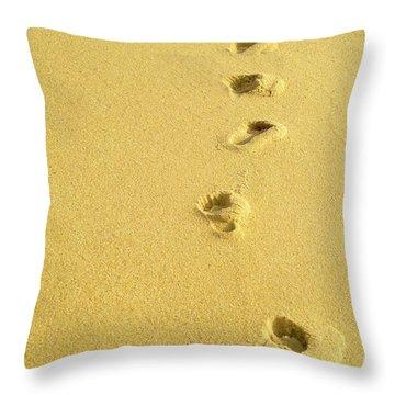 Foot Prints Throw Pillow by Carlos Caetano